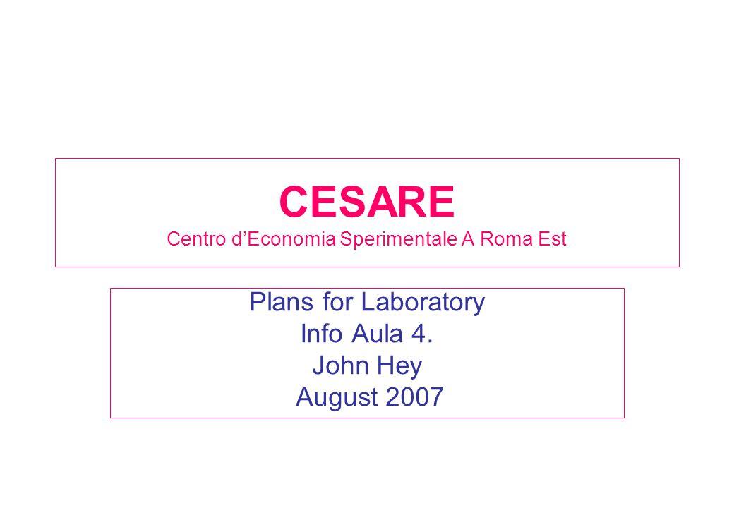CESARE Centro d'Economia Sperimentale A Roma Est Plans for Laboratory Info Aula 4.