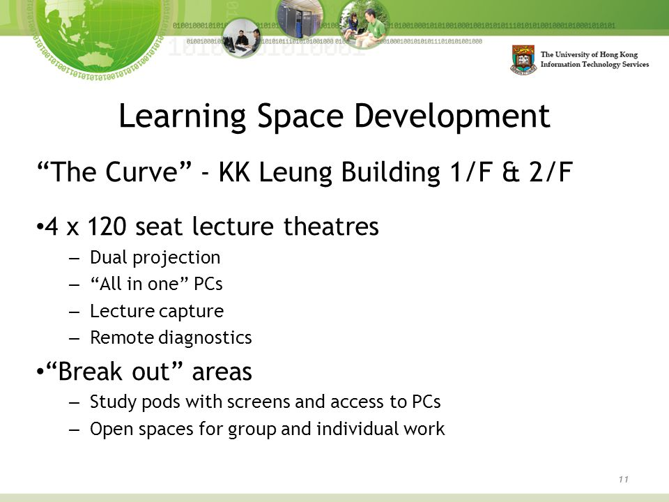 "Learning Space Development 11 ""The Curve"" - KK Leung Building 1/F & 2/F 4 x 120 seat lecture theatres – Dual projection – ""All in one"" PCs – Lecture c"