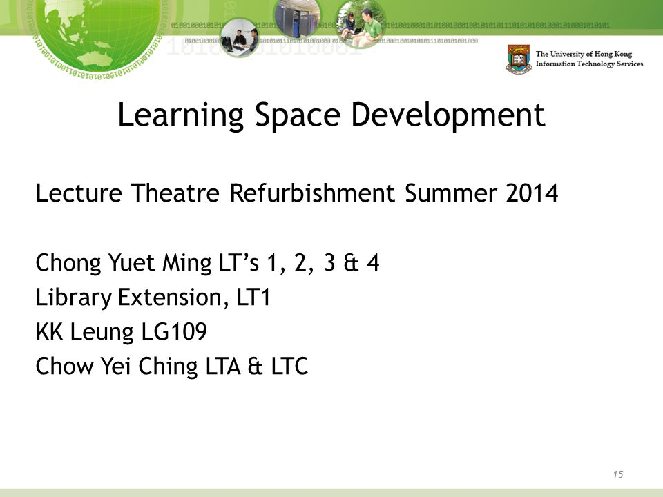 Learning Space Development 15 Lecture Theatre Refurbishment Summer 2014 Chong Yuet Ming LT's 1, 2, 3 & 4 Library Extension, LT1 KK Leung LG109 Chow Ye