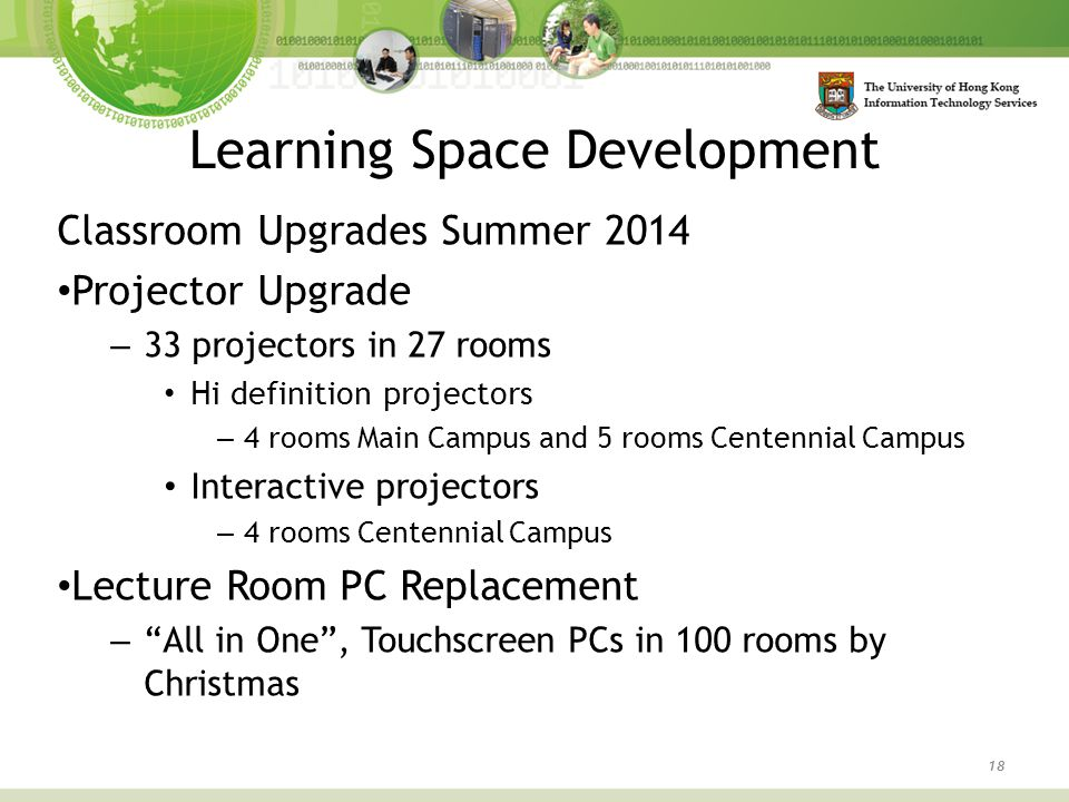 Learning Space Development 18 Classroom Upgrades Summer 2014 Projector Upgrade – 33 projectors in 27 rooms Hi definition projectors – 4 rooms Main Campus and 5 rooms Centennial Campus Interactive projectors – 4 rooms Centennial Campus Lecture Room PC Replacement – All in One , Touchscreen PCs in 100 rooms by Christmas