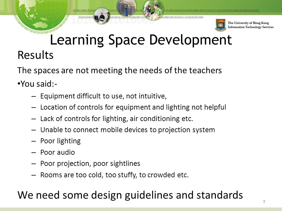 Results The spaces are not meeting the needs of the teachers You said:- – Equipment difficult to use, not intuitive, – Location of controls for equipm