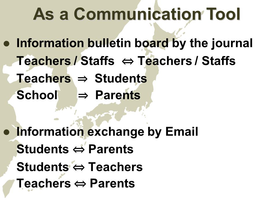 As a Communication Tool Information bulletin board by the journal Teachers / Staffs ⇔ Teachers / Staffs Teachers ⇒ Students School ⇒ Parents Information exchange by Email Students ⇔ Parents Students ⇔ Teachers Teachers ⇔ Parents