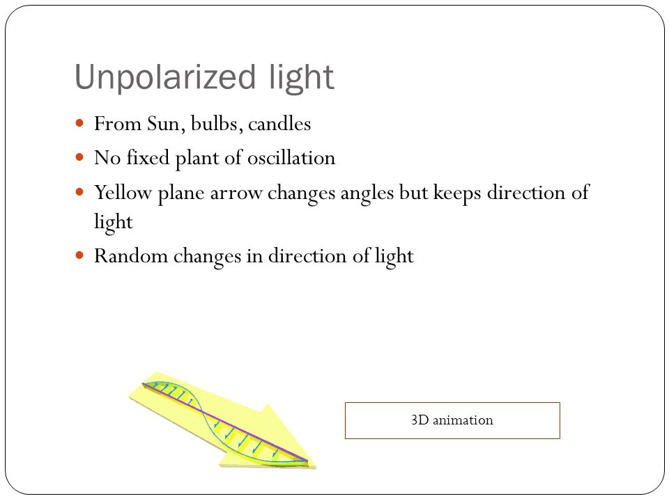 Unpolarized light From Sun, bulbs, candles No fixed plant of oscillation Yellow plane arrow changes angles but keeps direction of light Random changes