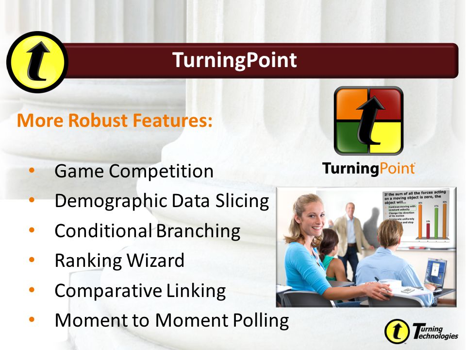 TurningPoint Game Competition Demographic Data Slicing Conditional Branching Ranking Wizard Comparative Linking Moment to Moment Polling More Robust F