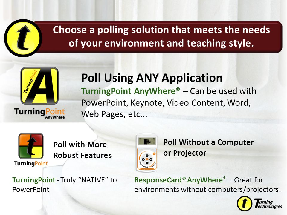"""TurningPoint - Truly """"NATIVE"""" to PowerPoint Poll Using ANY Application TurningPoint AnyWhere® – Can be used with PowerPoint, Keynote, Video Content, W"""