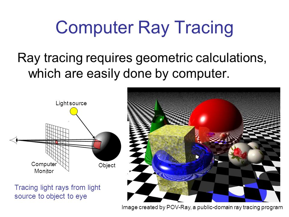 Computer Ray Tracing Ray tracing requires geometric calculations, which are easily done by computer.