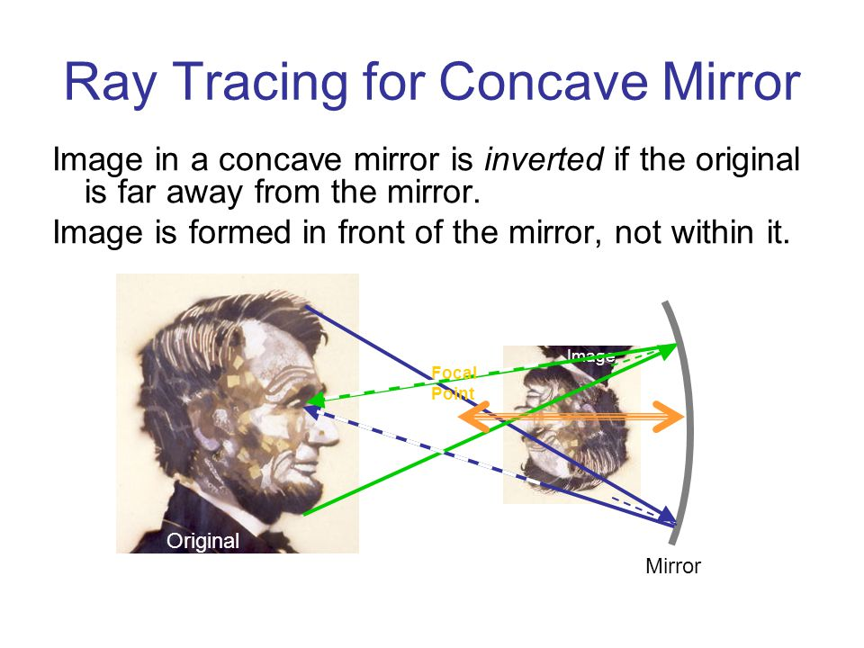 Image Ray Tracing for Concave Mirror Image in a concave mirror is inverted if the original is far away from the mirror.