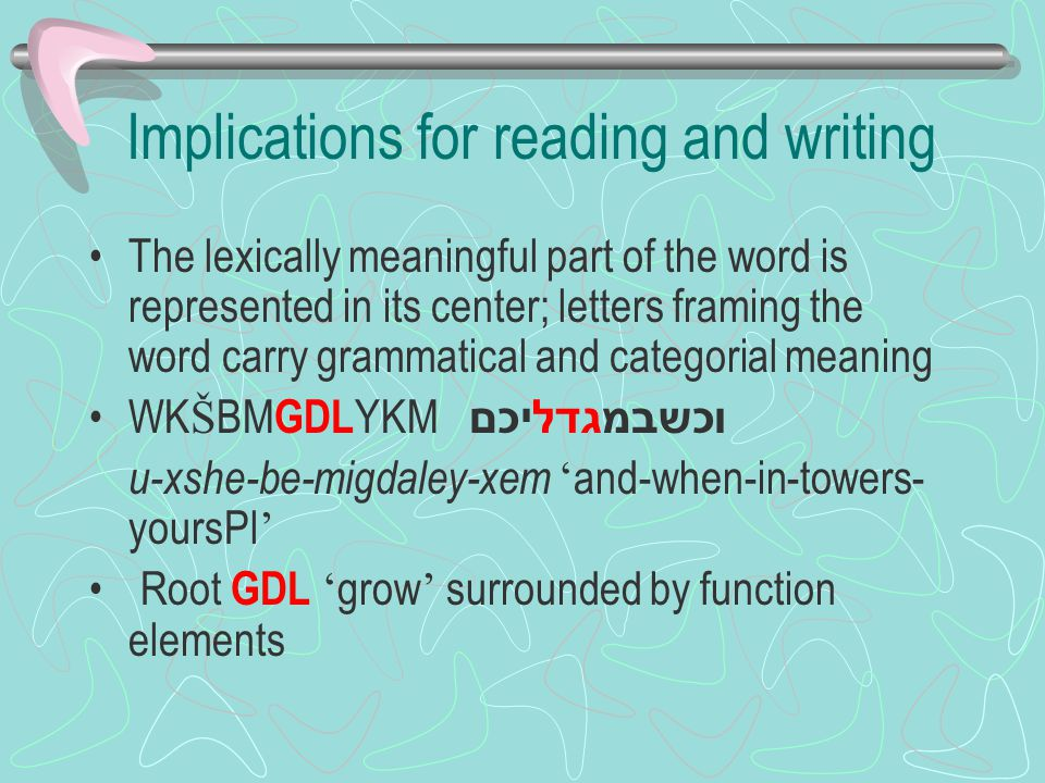 Implications for reading and writing The lexically meaningful part of the word is represented in its center; letters framing the word carry grammatical and categorial meaning WK Š BM GDL YKM וכשבמגדליכם u-xshe-be-migdaley-xem ' and-when-in-towers- yoursPl ' Root GDL ' grow ' surrounded by function elements