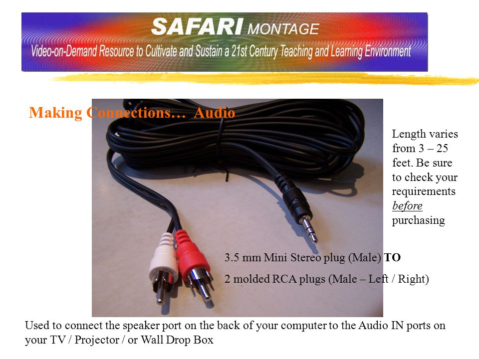 Making Connections… Audio 3.5 mm Mini Stereo plug (Male) TO 2 molded RCA plugs (Male – Left / Right) Used to connect the speaker port on the back of your computer to the Audio IN ports on your TV / Projector / or Wall Drop Box Length varies from 3 – 25 feet.
