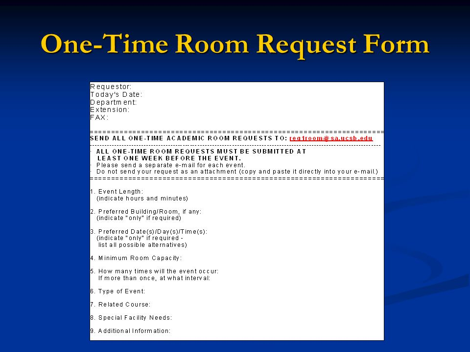 One-Time Room Request Form