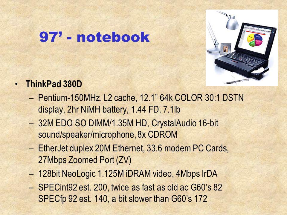 96' - notebook ThinkPad 365XD –100 MHz Pentium –PCI 800x60010.4 dual scan LCD –16M RAM/810M HD –14.4 Fax/Modem, IBM Ethernet –Sound, microphone, 4x CD-ROM, IrDA Desktop –75MHz 330; 133, 166MMX 350, 300GL, 300XL 1/3, ~275 faculty has the 97'