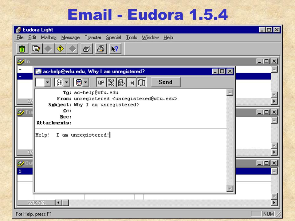 Email - Netscape create profile H:\somewhere