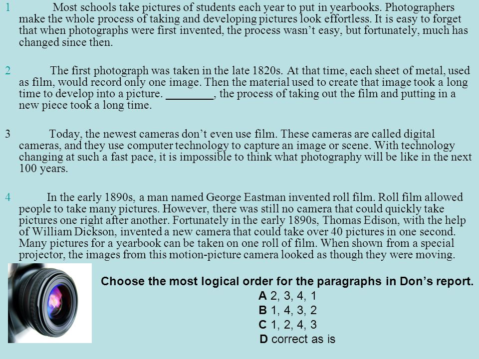 Choose the most logical order for the paragraphs in Don's report.