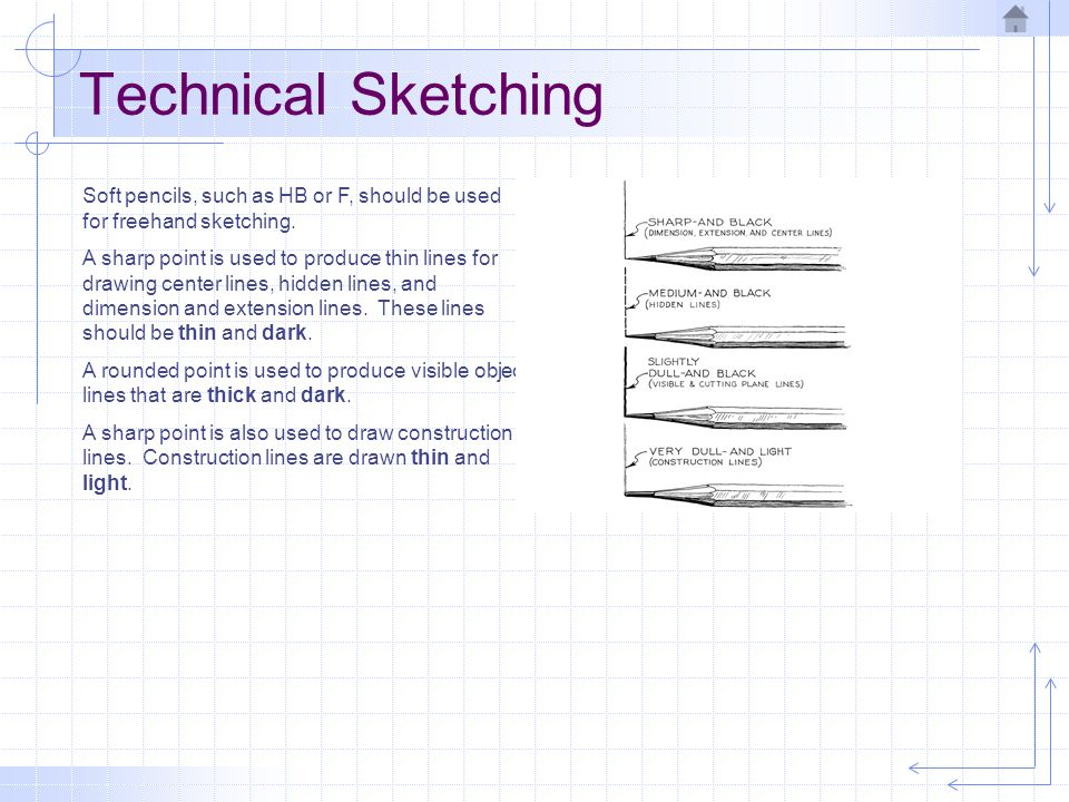 Technical Sketching Soft pencils, such as HB or F, should be used for freehand sketching. A sharp point is used to produce thin lines for drawing cent