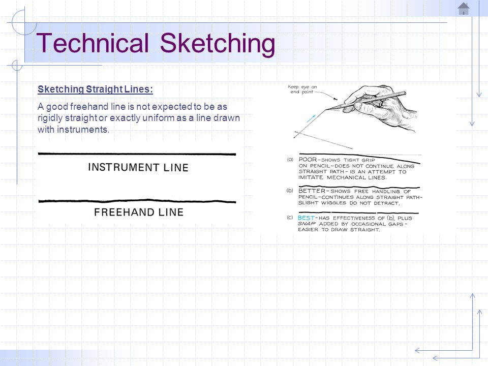 Technical Sketching Sketching Straight Lines: A good freehand line is not expected to be as rigidly straight or exactly uniform as a line drawn with i