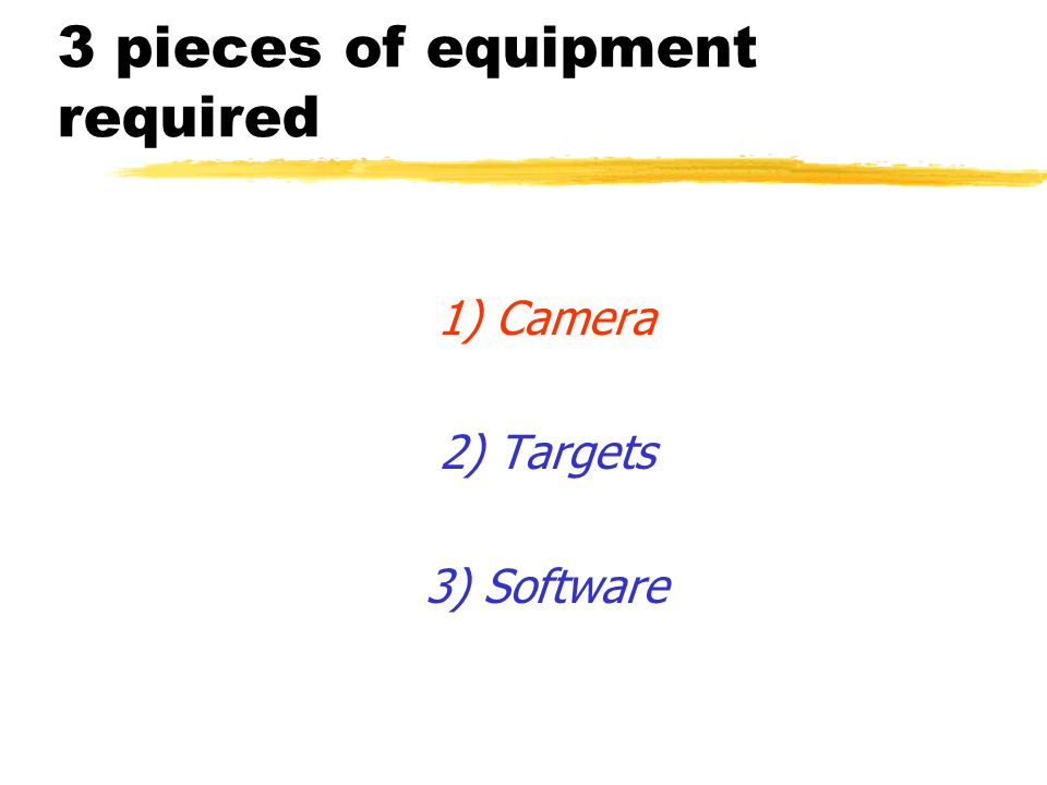 3 pieces of equipment required 1) Camera 2) Targets 3) Software