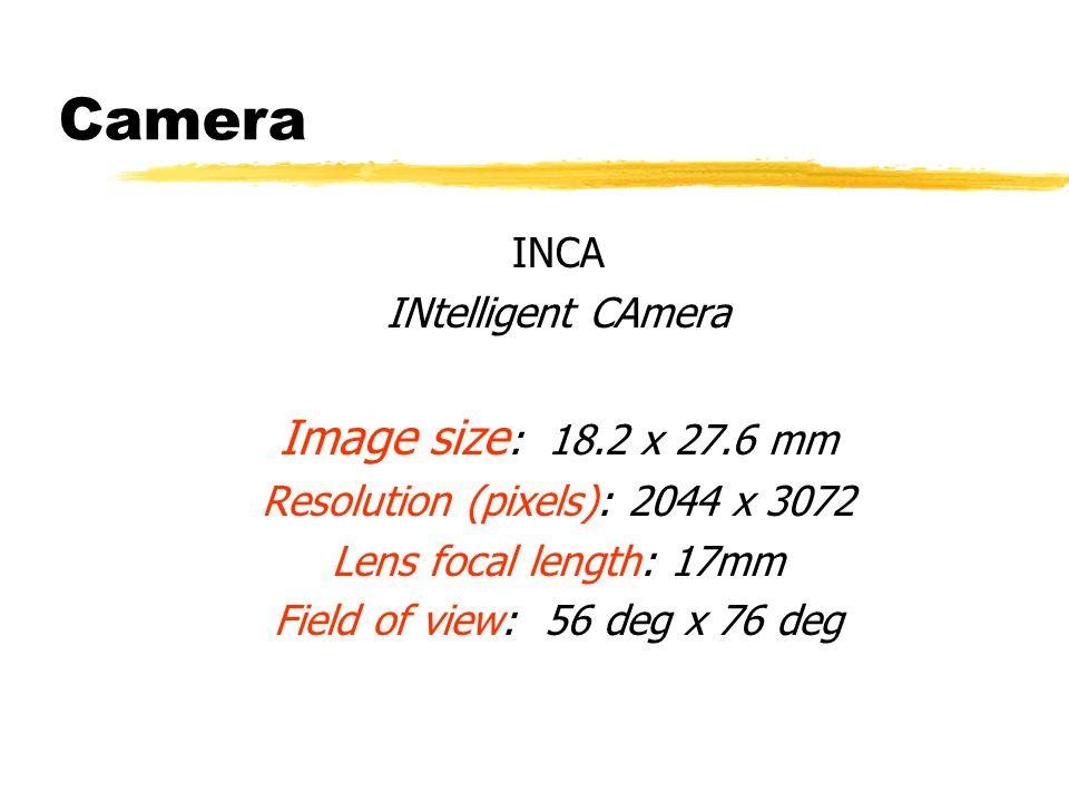 Camera INCA INtelligent CAmera Image size : 18.2 x 27.6 mm Resolution (pixels): 2044 x 3072 Lens focal length: 17mm Field of view: 56 deg x 76 deg