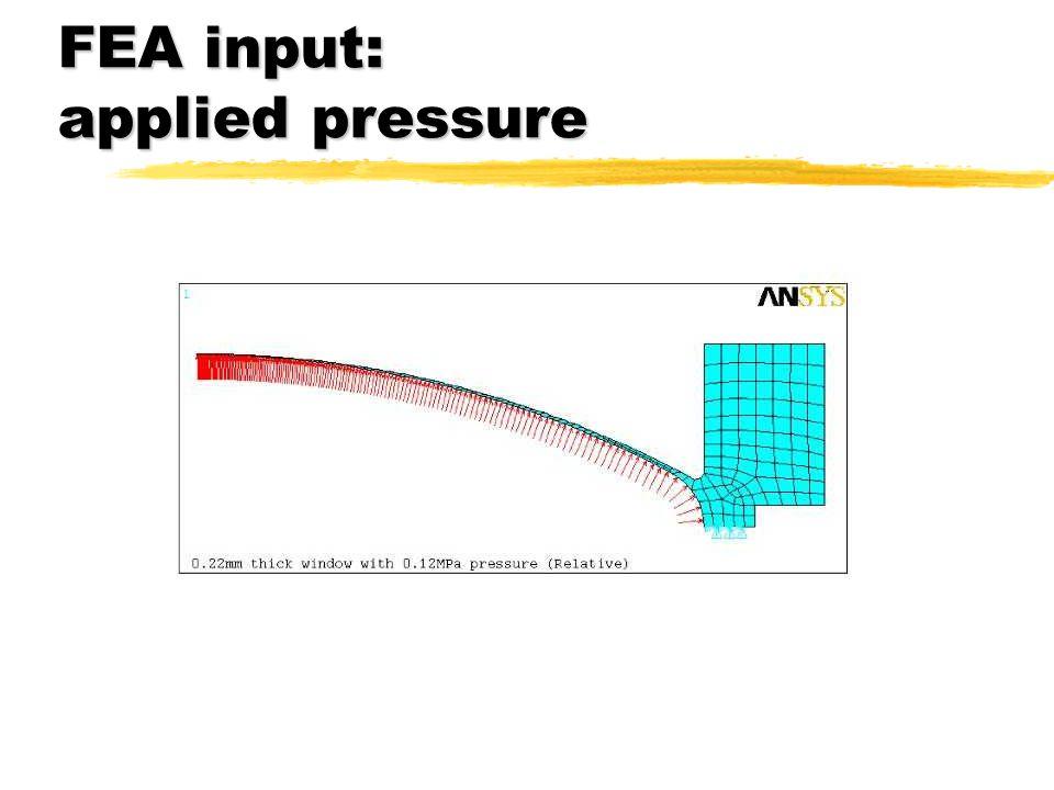 FEA input: applied pressure