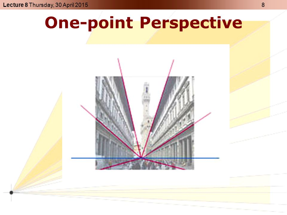 Lecture 8 Thursday, 30 April 2015 9 Two-point Perspective