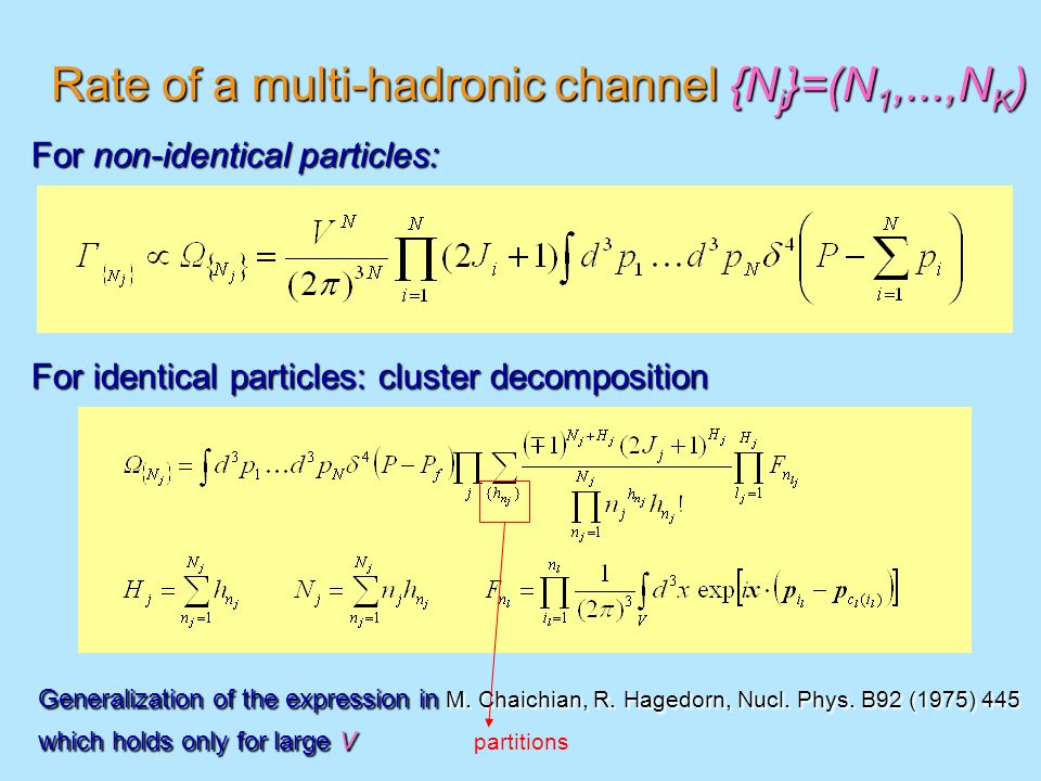 Rate of a multi-hadronic channel {N j }=(N 1,...,N K ) For non-identical particles: For identical particles: cluster decomposition Generalization of the expression in M.