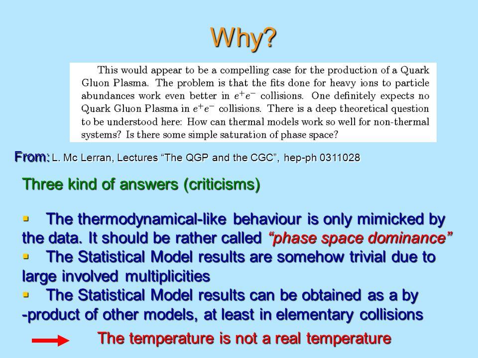 Average multiplicities (Boltzmann statistics limit)  Grand-canonical ensemble  Canonical ensemble  Microcanonical ensemble