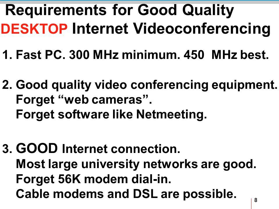 8 Requirements for Good Quality DESKTOP Internet Videoconferencing 1.