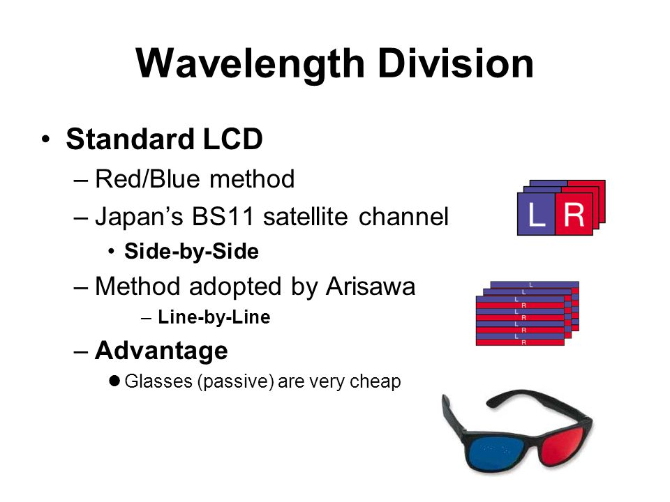 Wavelength Division Standard LCD –Red/Blue method –Japan's BS11 satellite channel Side-by-Side –Method adopted by Arisawa –Line-by-Line –Advantage Gla