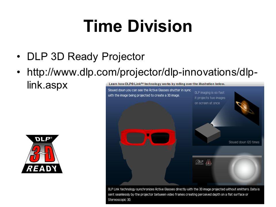 Time Division DLP 3D Ready Projector http://www.dlp.com/projector/dlp-innovations/dlp- link.aspx
