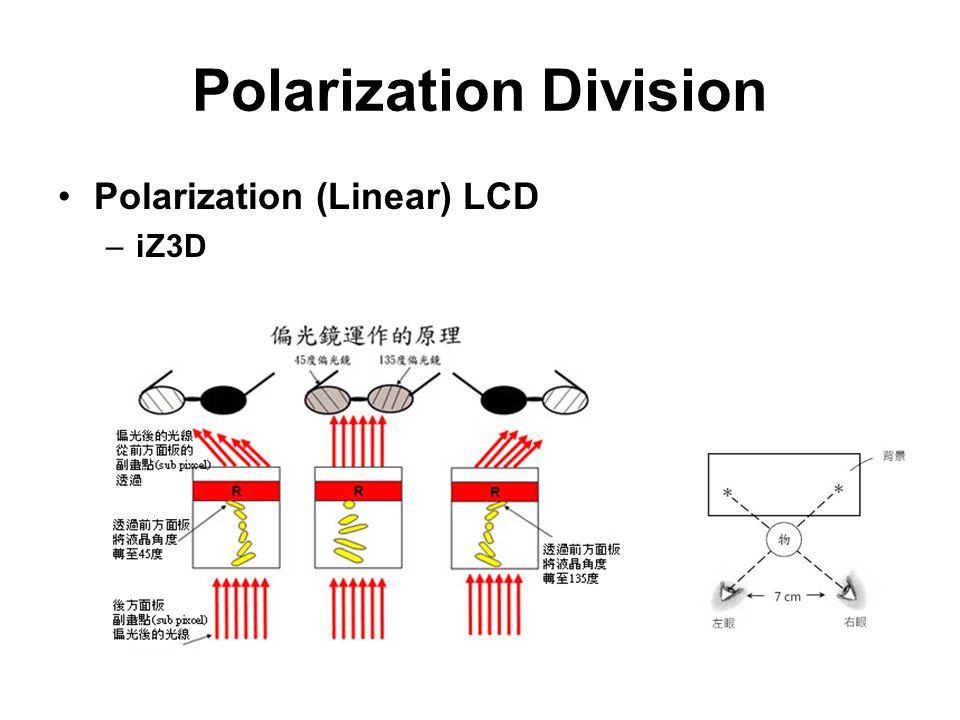 Polarization Division Polarization (Linear) LCD –iZ3D