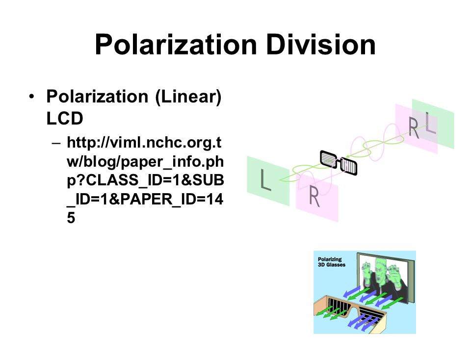 Polarization Division Polarization (Linear) LCD –http://viml.nchc.org.t w/blog/paper_info.ph p?CLASS_ID=1&SUB _ID=1&PAPER_ID=14 5