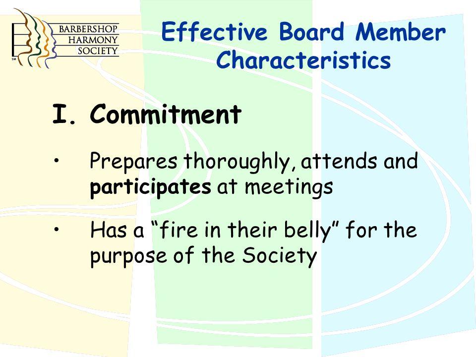 Effective Board Member Characteristics I.