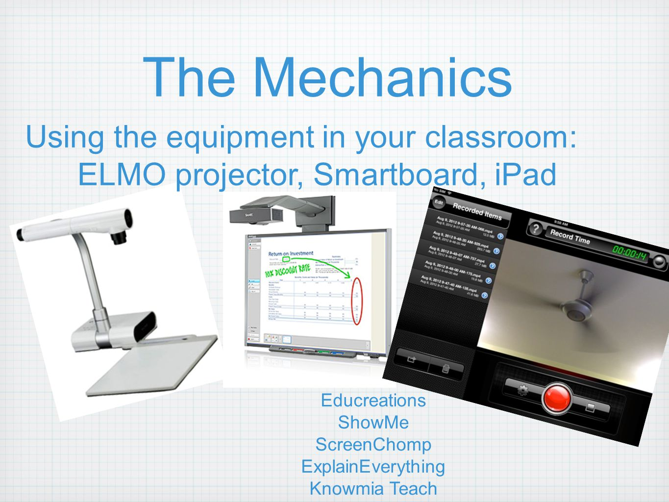The Mechanics Using the equipment in your classroom: ELMO projector, Smartboard, iPad Educreations ShowMe ScreenChomp ExplainEverything Knowmia Teach