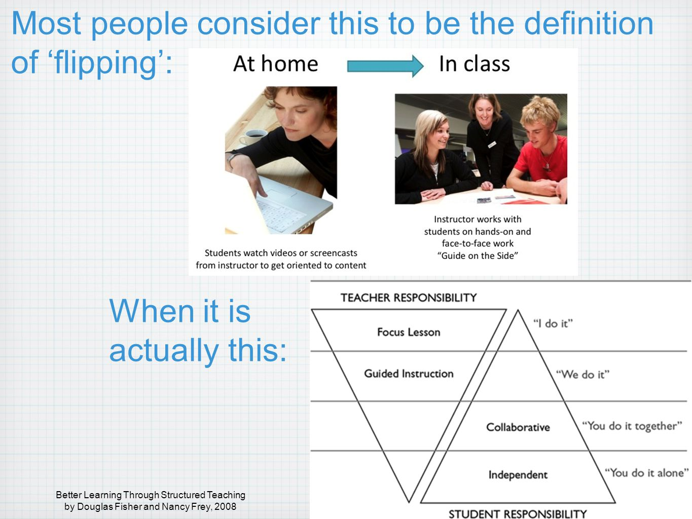 Most people consider this to be the definition of 'flipping': When it is actually this: Better Learning Through Structured Teaching by Douglas Fisher