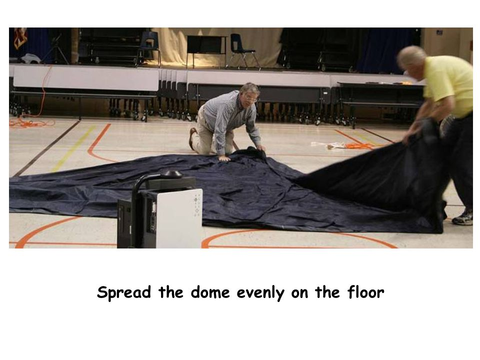 Spreading dome Spread the dome evenly on the floor
