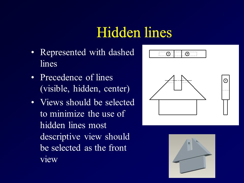 Hidden lines Represented with dashed lines Precedence of lines (visible, hidden, center) Views should be selected to minimize the use of hidden lines