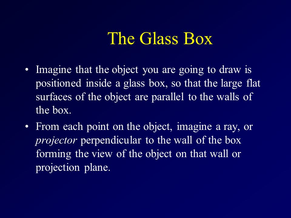 The Glass Box Imagine that the object you are going to draw is positioned inside a glass box, so that the large flat surfaces of the object are parall