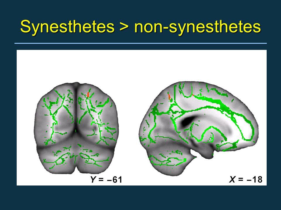 Synesthetes > non-synesthetes