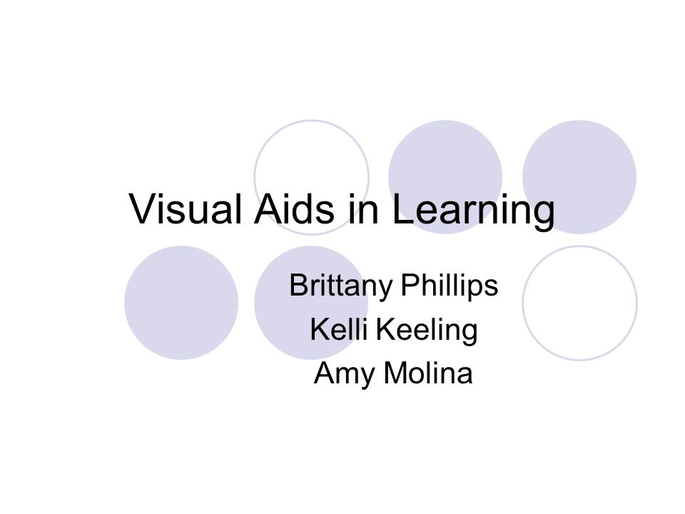 Visual Aids in Learning Brittany Phillips Kelli Keeling Amy Molina