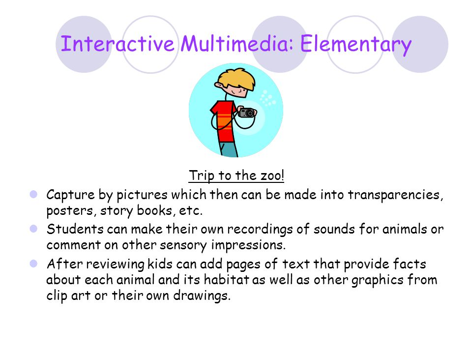 Interactive Multimedia: Elementary Trip to the zoo! Capture by pictures which then can be made into transparencies, posters, story books, etc. Student