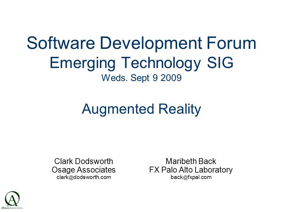 Software Development Forum Emerging Technology SIG Weds.