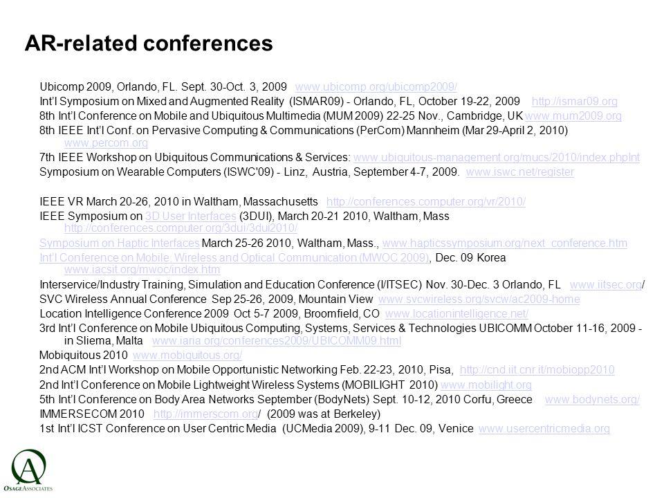 AR-related conferences Ubicomp 2009, Orlando, FL. Sept.