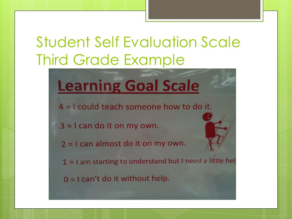 Student Self Evaluation Scale Third Grade Example