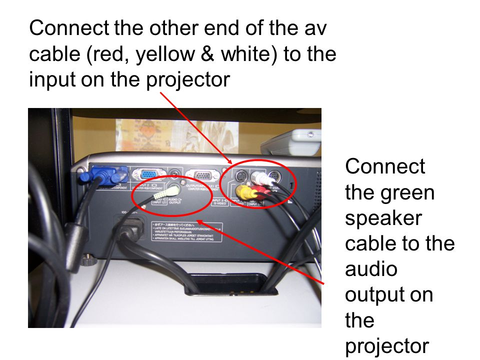 Connect external speakers to subwhoffer and then to power strip on av cart