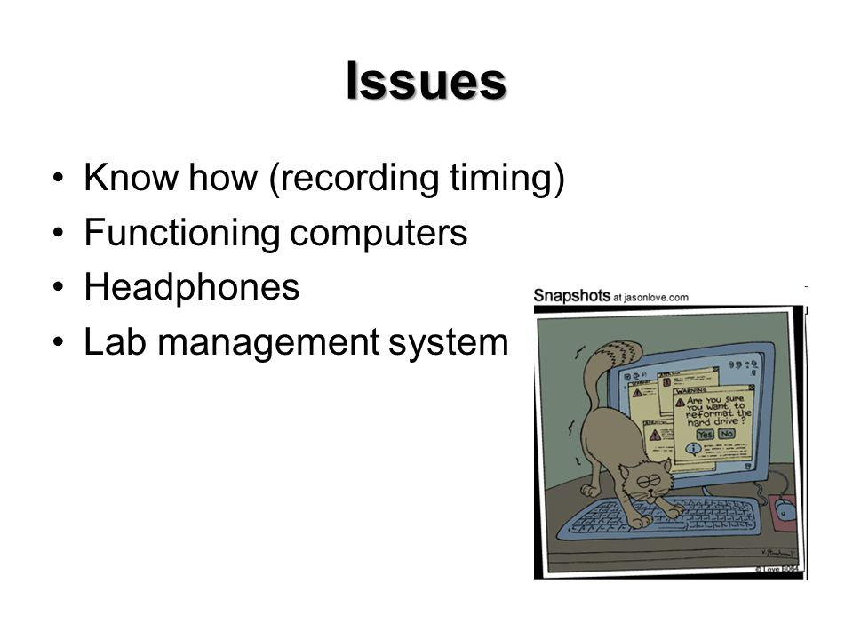Issues Know how (recording timing) Functioning computers Headphones Lab management system