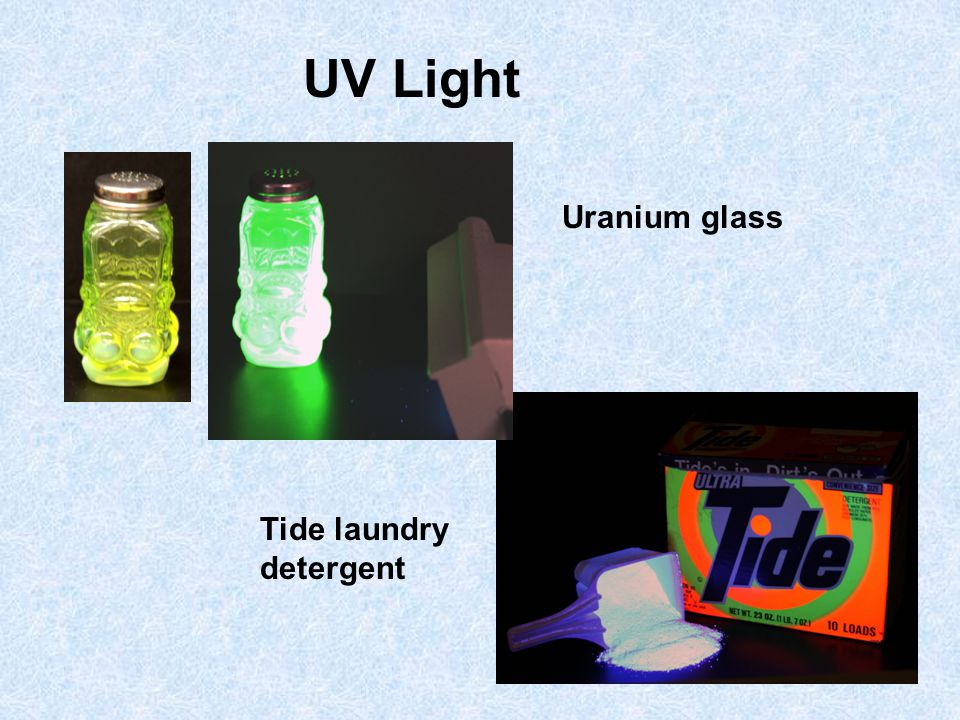 UV Light Uranium glass Tide laundry detergent