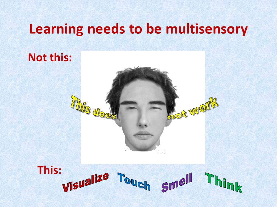 Learning needs to be multisensory Not this: This: