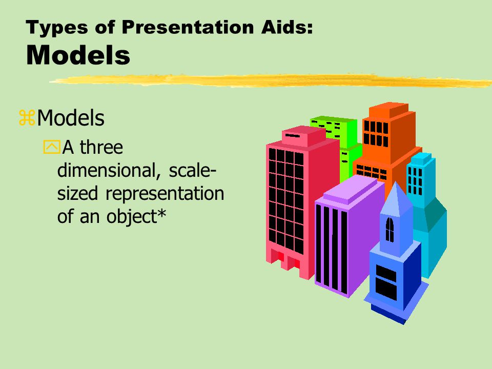 Types of Presentation Aids: Models zModels yA three dimensional, scale- sized representation of an object*