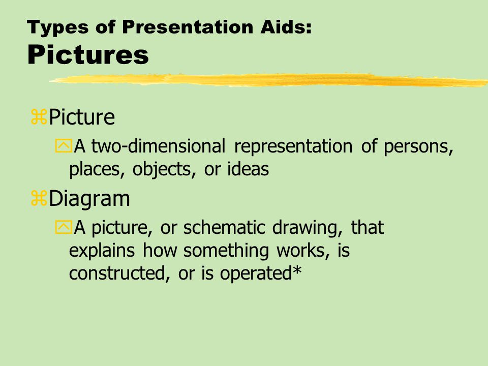 Types of Presentation Aids: Pictures zPicture yA two-dimensional representation of persons, places, objects, or ideas zDiagram yA picture, or schematic drawing, that explains how something works, is constructed, or is operated*