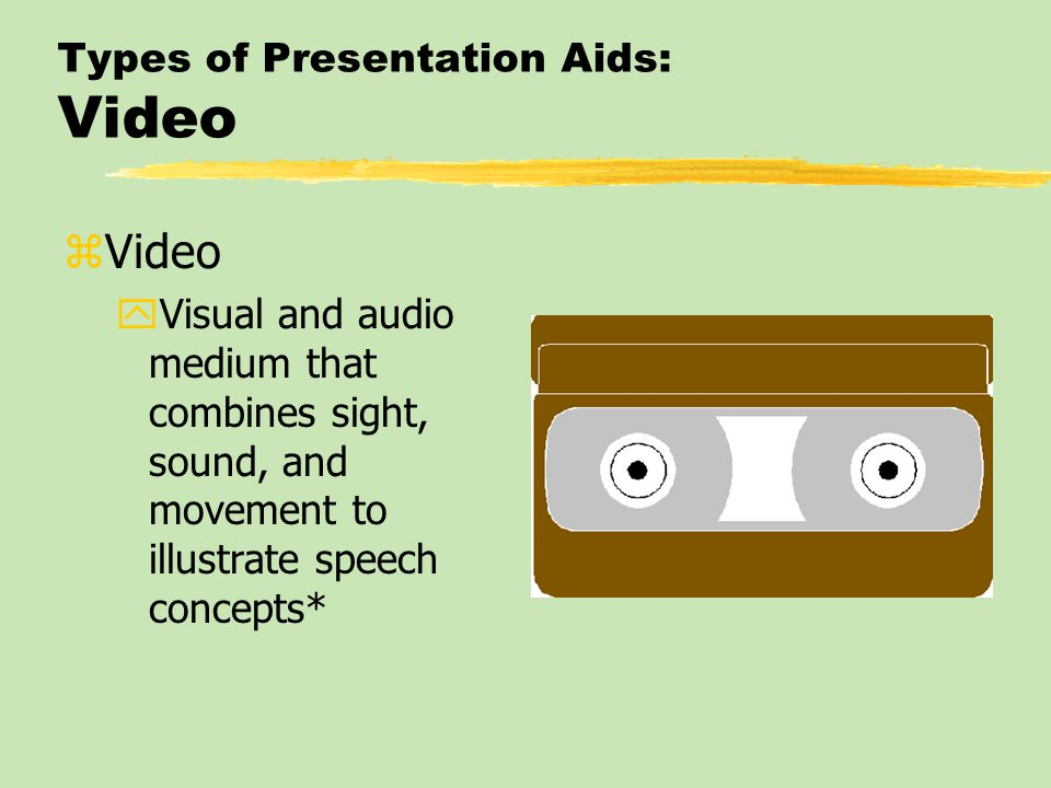 Types of Presentation Aids: Multimedia zMultimedia yCombines several media (voice, video, text, and data) into a single production*
