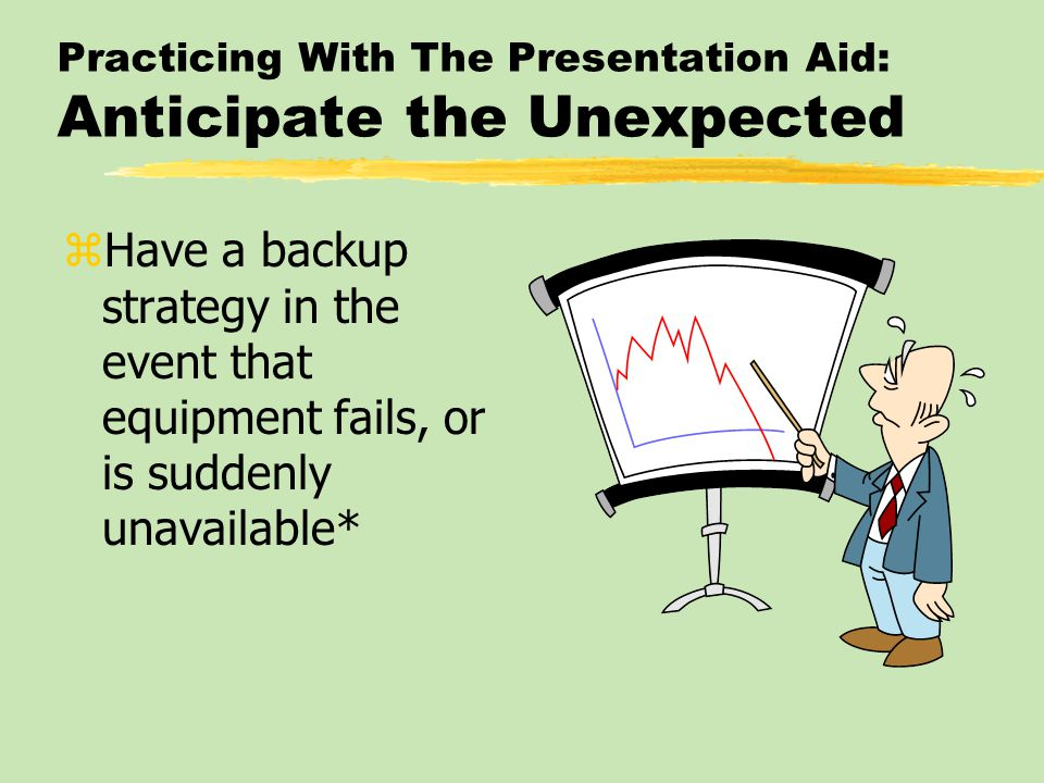 Practicing With The Presentation Aid: Don't Overdo It zAlways remember that a speech is foremost an activity in which the speaker communicates with words zUse aids in key places, and let verbal explanation be the mainstay of the presentation*
